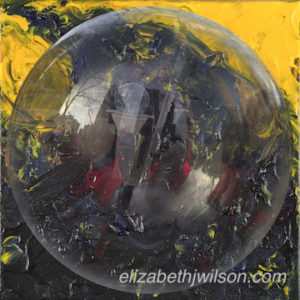 mixed media artwork titled Bubble Dwellers in a Shit Storm